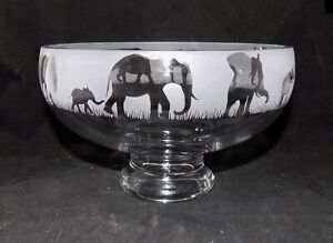 """New & Unique """"ELEPHANT"""" Glass Pedestal Bowl - Lovely Gift For Any Occasion"""