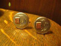 "Mid Century Atomic ""E"" Cuff Links - Vintage 1960's Letter Silver Cufflinks Set"