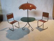 Vintage tin litho miniature dollhouse patio set, table umbrella & 2 chairs