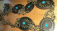 GORGEOUS Southwest Concho Belt w/Faux Turquoise Inserts FREE Shipping in USA!