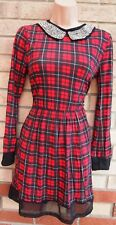 LUSTRE RED BLACK CHECK PUNK TARTAN BEADED NECK MESH SKATER A LINE DRESS 8 S