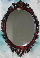 Vintage Oval Wood Carved Rose Floral Ornate Foyer Hallway Hanging Wall Mirror