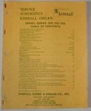 Kimball Model 280 282 285 Organ Technical Service Schematics Repair Manual