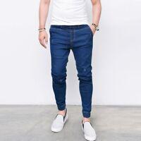 New Designer Mens Stretch Super Skinny Cuffed Blue Denim Fit Biker Jogger Jeans