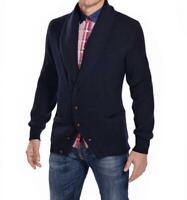 100% Merino Wool Scott Mens Knit Jumper / Sweater Navy Blue Size small S RRP 295