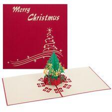 1pc 3D Pop Up Greeting Cards Merry Christmas  Xmas Tree Card Fancy 15cm*15cm