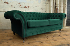 Emerald Green Velvet CHESTERFIELD SOFA - Handmade 3 Seater Fabric Couch, Settee