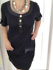 BETTINA LIANO WOMENS DRESS SHORT BLACK TRIM COTTON Mercerised WORK PARTY SZ 12