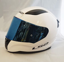 LS2 FF353 RAPID FULL FACE MOTORCYCLE HELMET WHITE WITH BLUE IRIDIUM VISOR