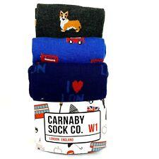 3 Carnaby Sock Co Mens Crew Socks W1 Shoe Size 8-12 London Corgi Union Jack Bus