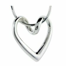 925 Silver Plt Hollow Abstract Love Heart Pendant Necklace Snake Floating A