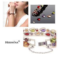 75% OFF Hermosa® 925 Sterling Silver Peridot Amethyst Garnet Topaz Bracelet 7''