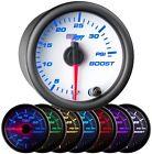 52mm White 7 Color LED Turbo Boost 35 PSI Gauge w Clear Lens & Hose Kit