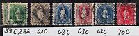 Schweiz 1882, Steh. Helvetia: Mich. 59 C, 61 C, 62 C, 63 C, 67 C, 70 C, gestemp.