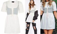 New Topshop UK 10 Lace-Up Corset Style T-Shirt Tunic/Mini-Dress White/Grey