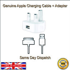 Genuine Official Apple 30 Pin USB iPad iPhone 4 4S 3GS iPod Mains Charger & Plug