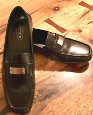 COACH LEATHERWARE Women's 7 1/2B Made in ITALY black leather flats loafers shoes