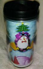 Starbucks Travel Tumbler Barista 2001 Mug 8 oz Winter Snowmen Design 3D