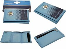 Manchester City Fc Nylon Club Crested Money Wallet Cash & Credit Id Card Mcfc
