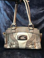 Guess- Oksana Cream & Grey Faux Snake Skin Purse/ Handbag / Shoulder Bag