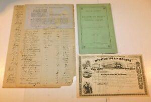 1854 Mississippi & Missouri Railroad Stock, Statement and Stockholders List
