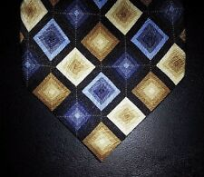 Statements Silk Tie Blue Gold Diamond Pattern Geometric NIB t3323