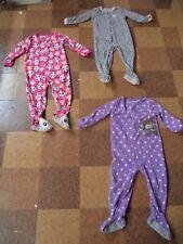 3 C…s 1-Piece Footed Poly Fleece Pajamas Girl's 3T Leopard Pink Panda Violet VGC