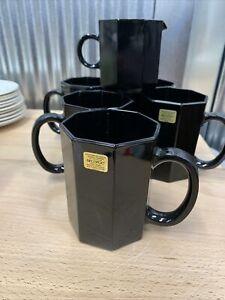 Vintage Arcoroc Luminarc France Black Glass Mugs Set Cups Art Glass