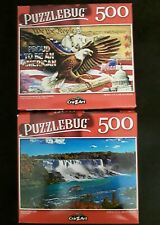 500 piece jigsaw puzzle - Puzzlebug - Lot of 2 - Niagara Falls, eagle USA
