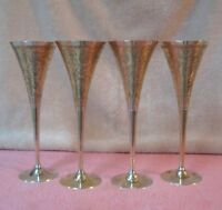 """Set (4) Vintage 9.25"""" Tall Brass Champagne Martini Wine Glasses Cups Goblets"""