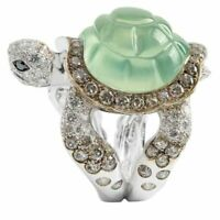 Luxury 925 Silver Oval Cut Peridot Turtle Ring Animal Women Wedding Jewelry Gift