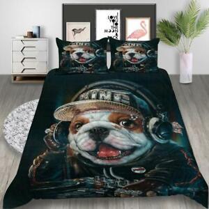 2/3Pcs Funny Pet Dog Pug Quilt Doona Duvet Cover Set Single Double Queen Size AU
