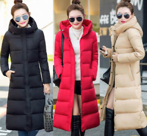 New Women Long padded Quilted Down Coat Warm Puffer Hooded Jacket Casual Parka