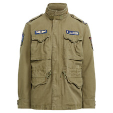 99ea33126 Mens Polo Ralph Lauren Cotton Twill Field Jacket Olive Patches Military  Size XL