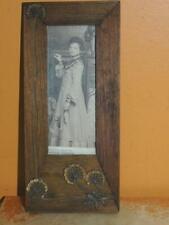 """Portrait Photo Frame 7"""" c1900 Nouveau picture wood metal applique Heirich Festge"""