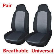 1 Pair Car Front Seat Covers Protectors Built-in Seat Belt Grey & Black