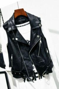 Ladies Vintage Coats Faux Leather Waistcoat Gilet Biker Slim Sleeveless Jacket