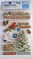 Winter Wonderland Sleigh Ride Ice Skating Cardinal Snow  Paper House 3D Sticker