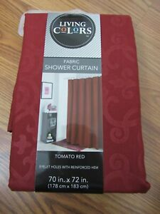 "LIVING COLORS, NEW RED TOMATO POLYESTER FABRIC SHOWER CURTAIN 70"" X 72"""