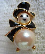 Vintage Monet Gold Tone Black Enamel & Creamy Snowman Brooch Pin Christmas