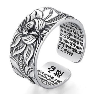 Women Ring jewelry Free Size open Lotus Flower 999 Fine Silver Heart Sutra GIFT
