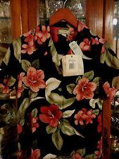Tommy Bahama $90 FAB New NWT women top shirt Hawaiian XS 2 floral Garden of Hope