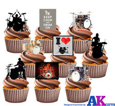Drums Drum Set Party Pack 36 Edible Cup Cake Toppers Band Rocker Decorations