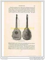 QUEEN ELIZABETH'S LUTE, ENGLAND c1586, Book Illust c1870