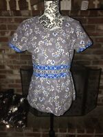 Dickies Scrub Nurse Gray/Blue Floral Cotton Shirt Top Women's Size M
