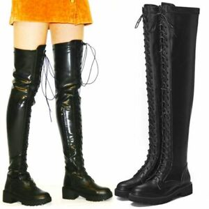 Women Lace Up Round Toe Thigh High Boots Over Knee Round Toe Flats Oxfords Punk