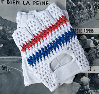 Vintage Style Tricolour Track Mitts Crochet Cycling Gloves Mits L'Eroica
