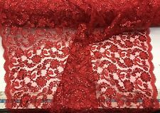 Red Flowers Embroider With Sequins And Corded On A Mesh Lace-Sold By Yard.
