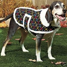 DOG VEST Pet Jacket Coat BLACK Paw Prints Corduroy LARGE L
