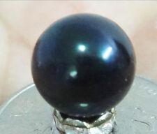 HUGE 14MM PERFECT ROUND TAHITIAN GENUINE BLACK LOOSE PEARL HALF DRILLED